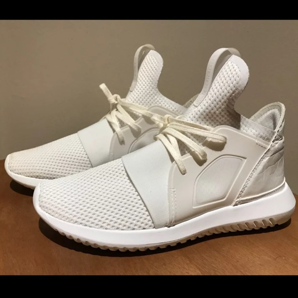 sports shoes 87516 9c405 Adidas Tubular White Defiant Reflective Sneakers